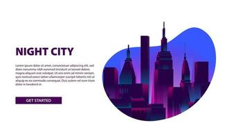 Landing page banner glow neon color city night illustration vector