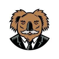 Koala With Moustache Woodcut Color vector