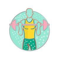 Ilustración de diseño de estilo memphis de un atleta o levantador de pesas levantando una barra vector
