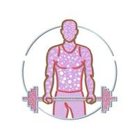 Memphis style design illustration of personal trainer lifting a barbell vector