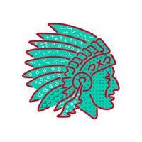 Native American Headdress Memphis Style vector