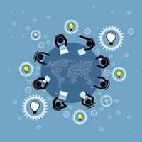 Group of people discussing and brainstorming on a round table with a world vector