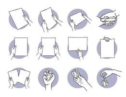 Hand holding A4 paper, staple, tearing, crumpled, and throwing away set vector