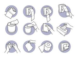 Hand holding and using toilet paper and tissue set vector