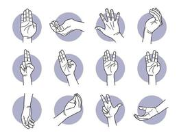 Hand fingers and palm gestures set vector