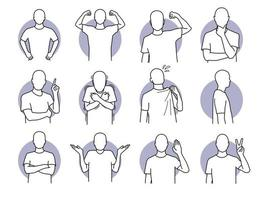 Basic human actions and body languages set vector