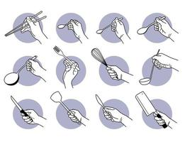 Hand holding kitchen utensils and cooking tools set vector