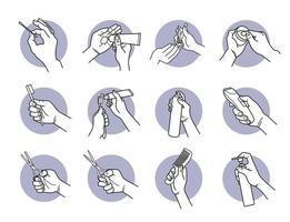 Hand holding and using grooming tools, equipment and products set vector