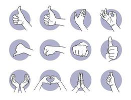 Good, love, and like hand gestures set