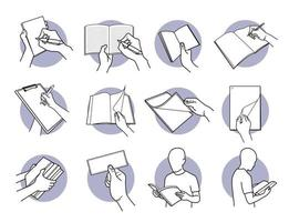 Hand holding paper, note, book, pencil, pen, and documents set vector