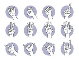 Hand and finger gestures set vector
