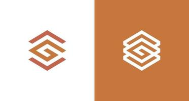Abstract letter G hexagon logo with arrow up and down vector