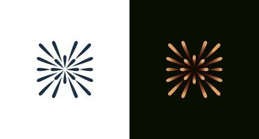 abstract minimal letter H with light, star, circle, gold lines element set vector