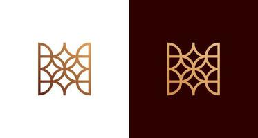 Abstract decorative letter H logo with star, leaves, geometric line pattern set vector