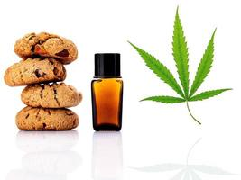 Homemade cookies with hemp oils isolated on a white background