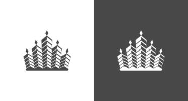 abstract royal building, crown, real estate, property logo vector template set