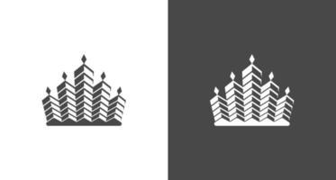 edificio real abstracto, corona, bienes raíces, conjunto de plantillas de vector de logotipo de propiedad