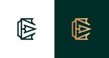 Classy and sharp letter E Arrow logo set vector