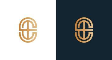 classy letter E monogram logo with cross element set vector