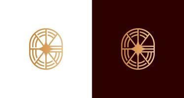 Abstract elegant letter G star logo ion circular emblem shape set vector