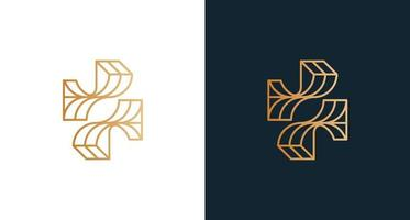 Abstract letter F logo design with cross shape set vector