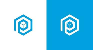 Simple letter P logo with 3 layers element in hexagon shape set vector