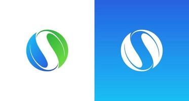Modern, elegant and abstract letter S logo in circular leaves shape set vector