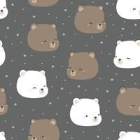 Cute teddy bear and polar bear head cartoon doodle seamless pattern vector