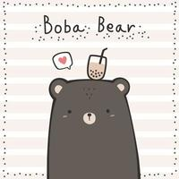 Cute brown teddy bear with boba tea on head cartoon doodle card vector