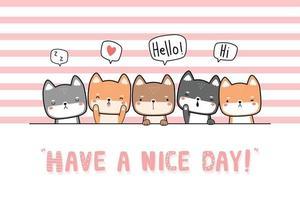 Cute shiba inu puppy dog friends greeting cartoon doodle card vector