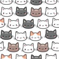Cute cat kitten head cartoon doodle seamless pattern vector