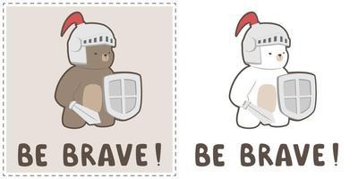 Cute chubby teddy bear and polar bear in knight costume  set vector
