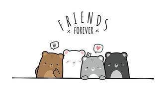 Cute chubby teddy bear and polar bear friends greeting cartoon doodle vector