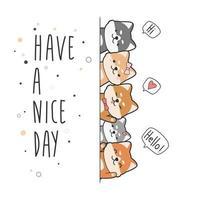 Tarjeta linda del doodle de la historieta del saludo del perrito del perro de shiba inu vector