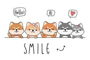 Cute shiba inu dog puppy greeting cartoon doodle card vector