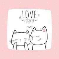 Cute cat kitten love couple kissing cartoon doodle pink pastel card vector