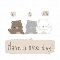 Cute chubby teddy bear and polar bear greeting cartoon doodle card vector