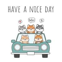 Cute shiba inu dog driving a car with friends greeting cartoon doodle vector