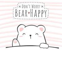 lindo, oso polar, saludo, caricatura, garabato vector
