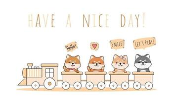 Cute shiba inu dog riding a train cartoon doodle vector