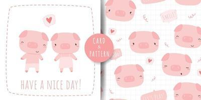 Cute pig cartoon card and seamless pattern set vector