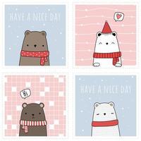 Set of Cute teddy bear and polar bear cartoon doodle card vector