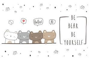 lindo oso polar y oso de peluche saludo tarjeta de doodle de dibujos animados vector