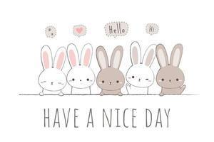 Cute rabbit bunny greeting cartoon doodle card vector
