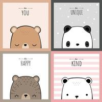Cute teddy bear polar bear and panda cartoon doodle card collection vector