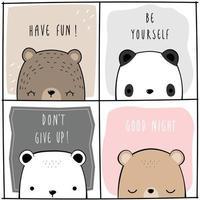 Cute teddy bear polar bear and panda cartoon doodle card collection vector