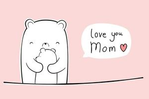 lindo oso polar abrazando a su bebé doodle de dibujos animados amor tarjeta de mamá vector