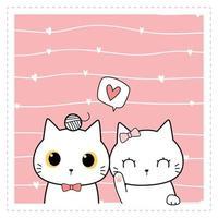 Cute cat kitten love couple cartoon doodle pink pastel card vector