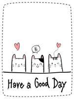Cute cat kitten greeting cartoon doodle card vector