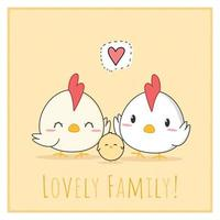 Cute chicken and rooster family cartoon doodle card vector